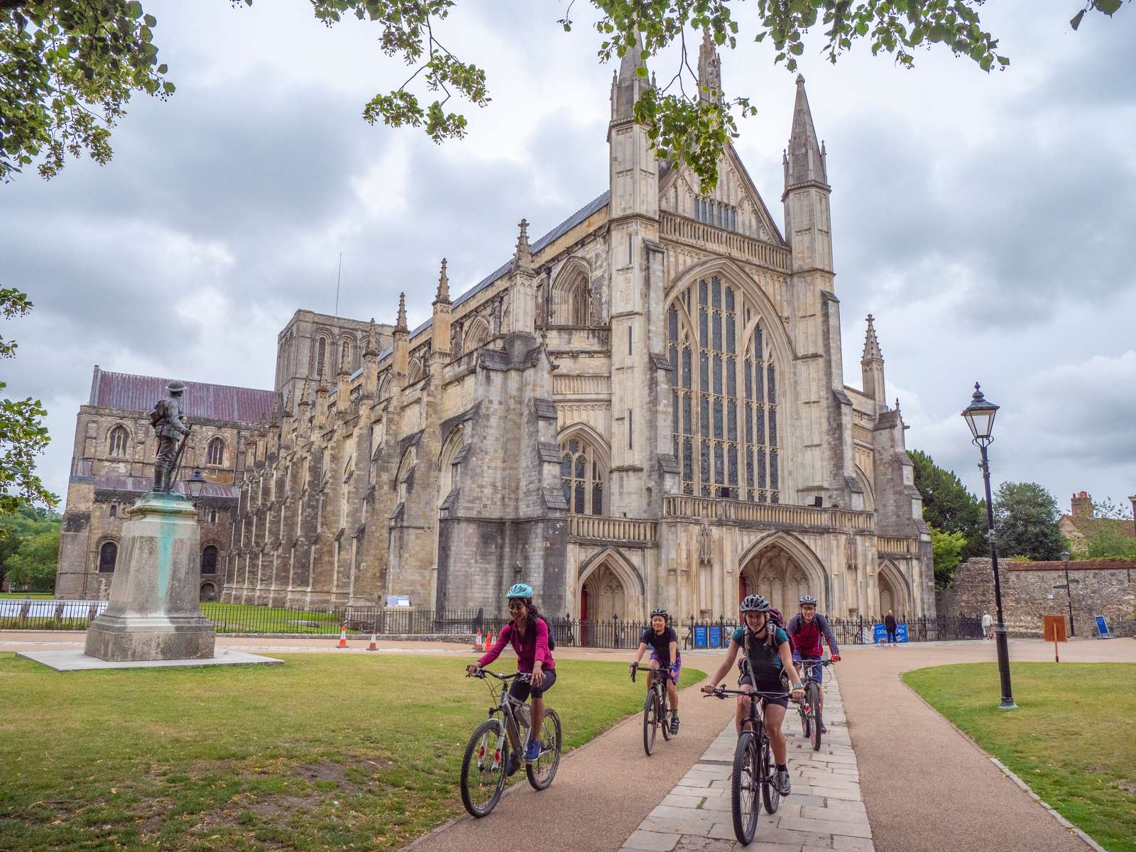 Winchester cathedral cycling