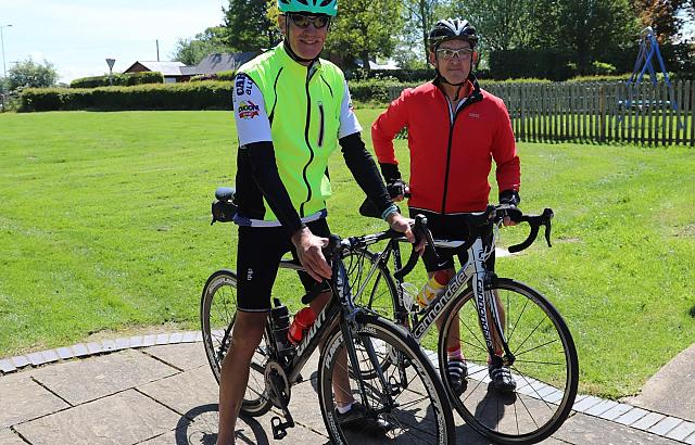 Wrexham cyclists John and Ian enjoy a welcome break at the Walled Garden Cafe.