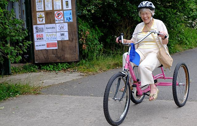 One of our Participants on a Pink Trike