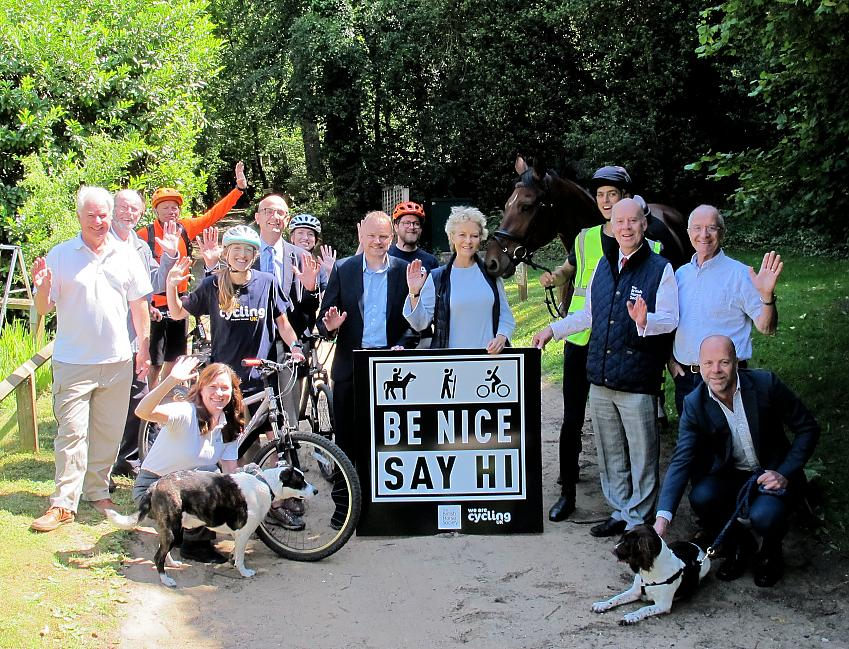 Cyclists, horse riders, Surrey Hill AONB and more gather to celebrate the launch of 'Be Nice, Say Hi' in Surrey.