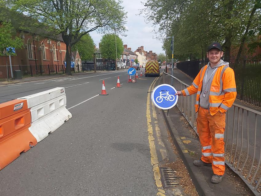 New temporary cycle lane in Leicester