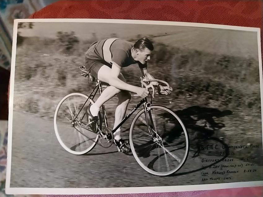 Russ Mantle racing in the National Championships 25 mile time trial in Bedfordshire, 1955. Russell missed the medal by 10 seconds coming 6th our of 120 of the fastest riders in the country.