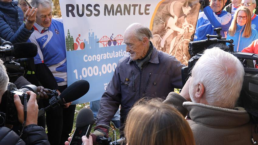 Russ Mantle at the end of his million mile journey