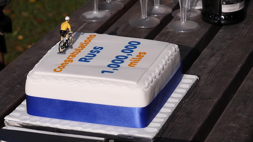 Celebrating a million miles has to be done with cake. Photo Robert Spanring / Cycling UK