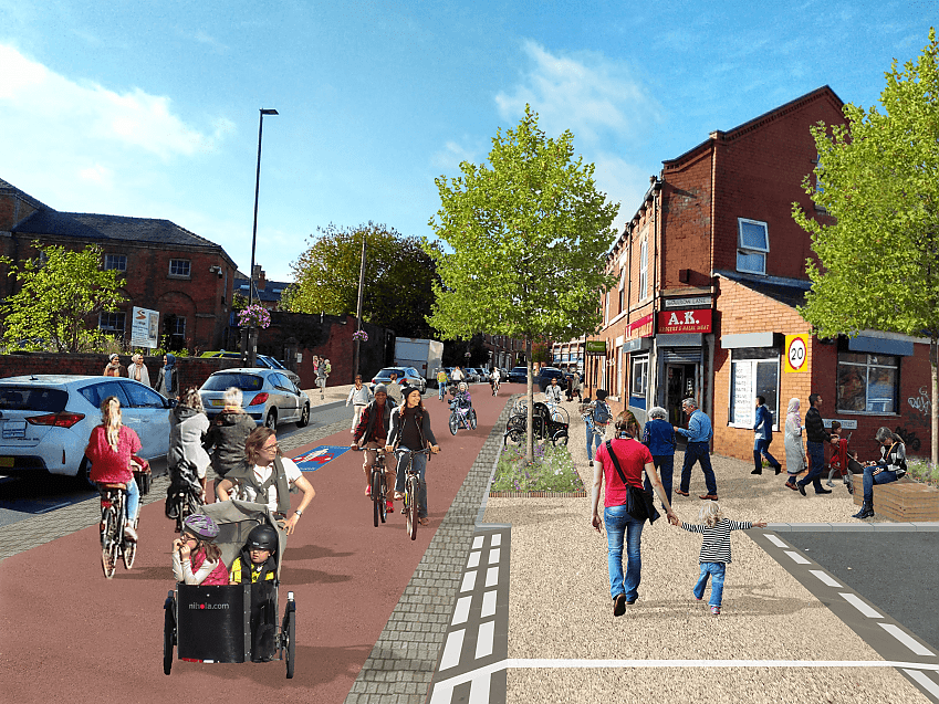 Mock up of how new infrastructure could look on a suburban street