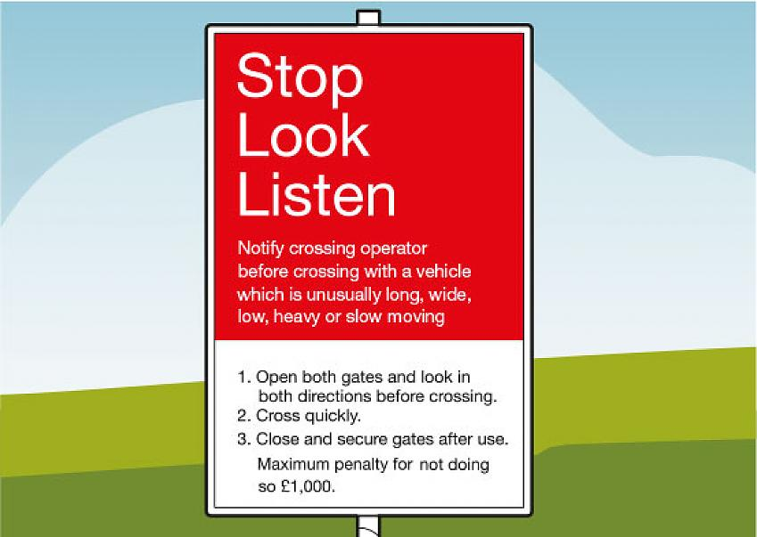 A stop look listen sign you might encounter at a level crossing