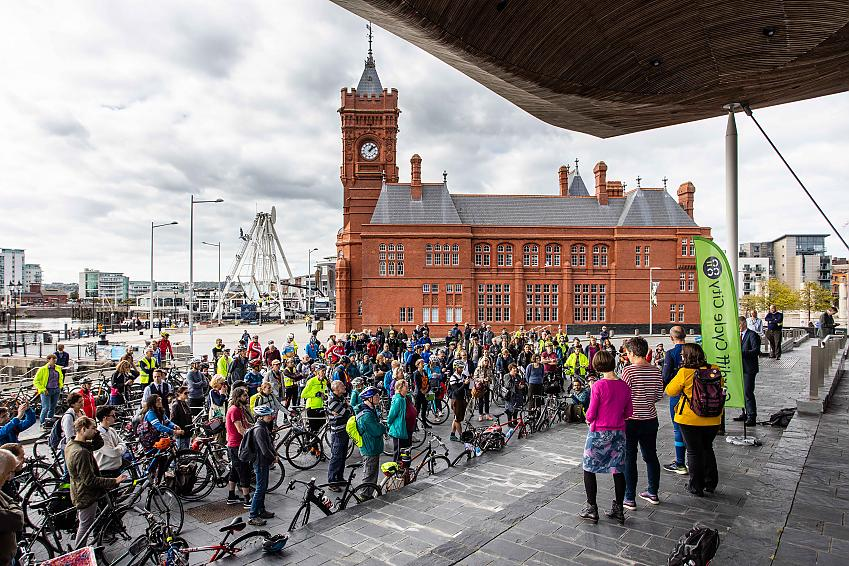 Cycle on the Senedd gathers on the steps of the Senedd.