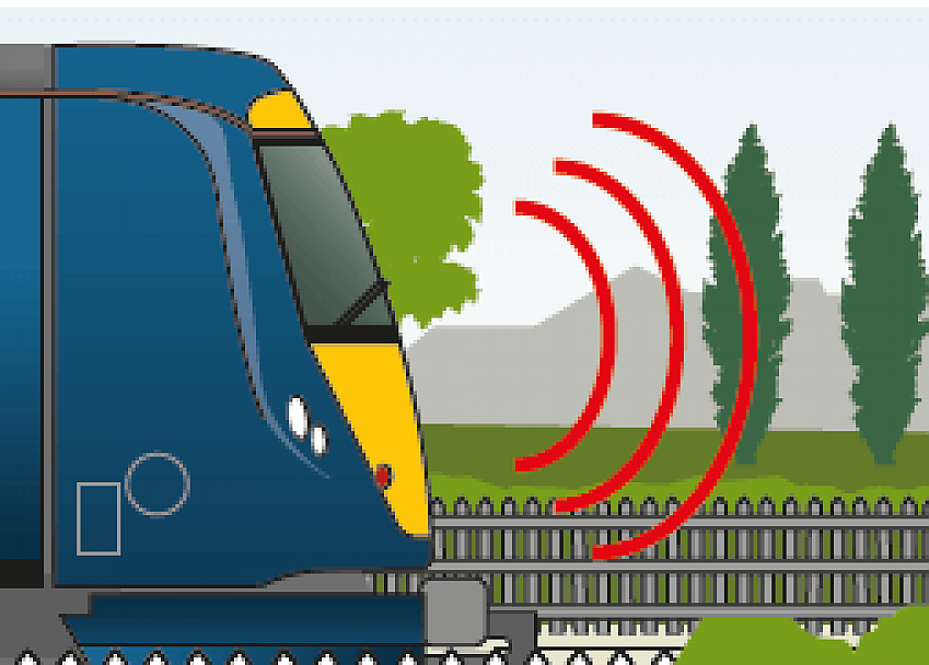 Graphic of a train and it's siren