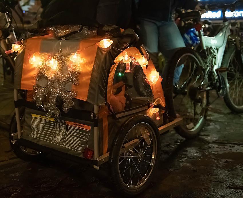 A glowing cargo bike. Photo by Peter Cornish