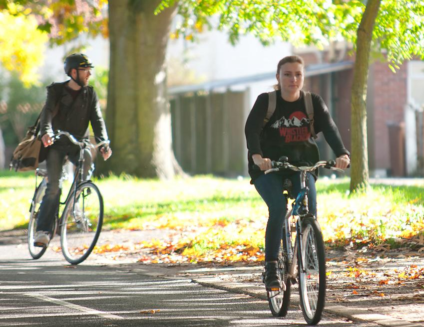 Young people cycling