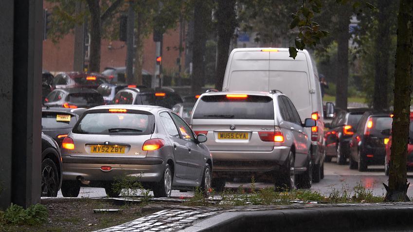 A traffic jam in Bristol