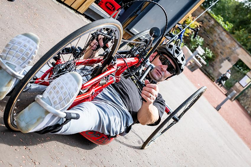 Stuart McMillan on a handcycle