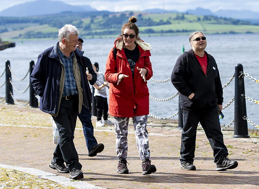 Mark McVey (right) enjoying a health walk for the Inverclyde Bothy's birthday
