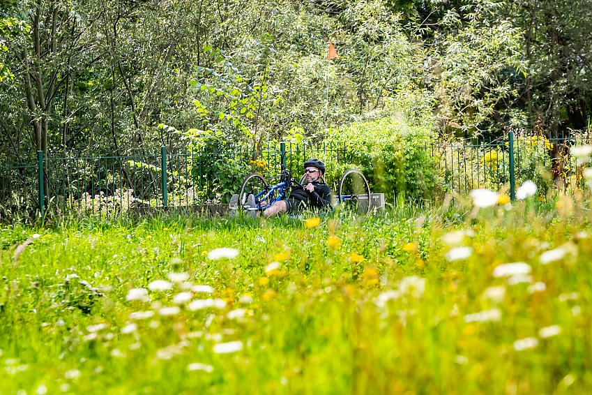 Man riding a hand cycle through a park full of flowers