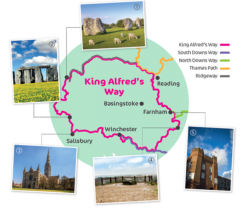 Map of King Alfred's Way route