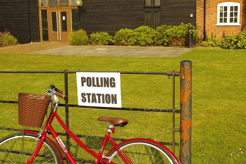 Bike outside polling station