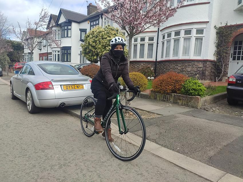 Syeda on her bike