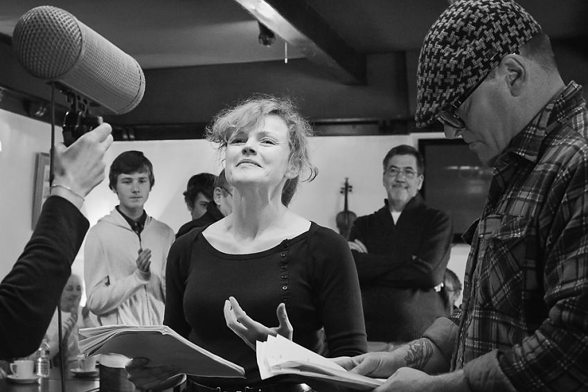 Maxine Peake recording the radio programme Beryl Burton. Image credit Claire Sutton