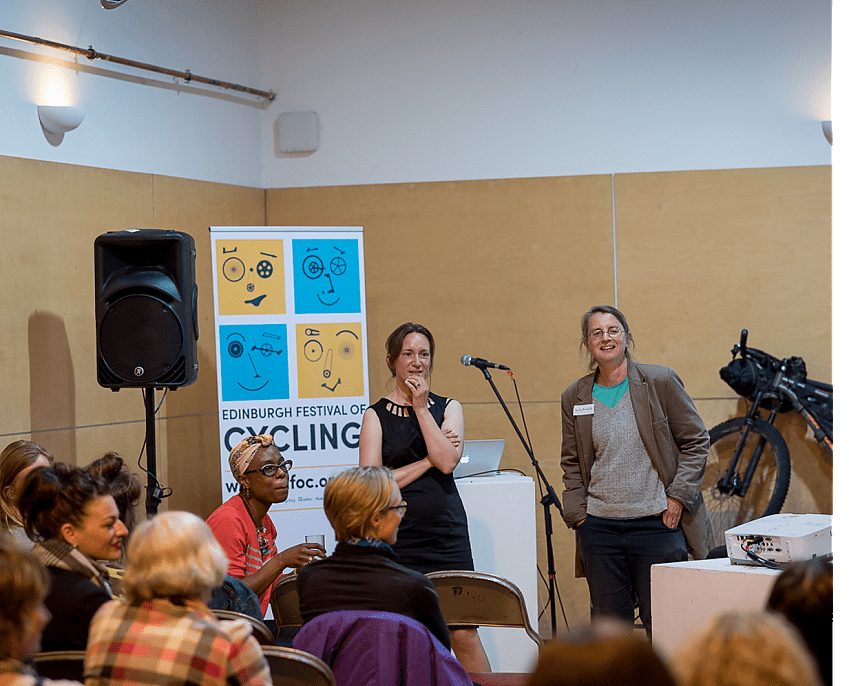 Suzanne (left) at the launch of Women's Cycle Forum Scotland (WCFS), alongside Sally Hinchcliffe (right)