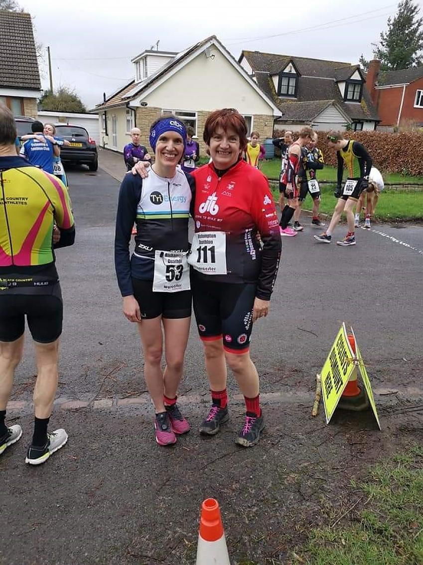 Kara Tranter (left) and her mum Clair Parfrey (right) at a duathlon