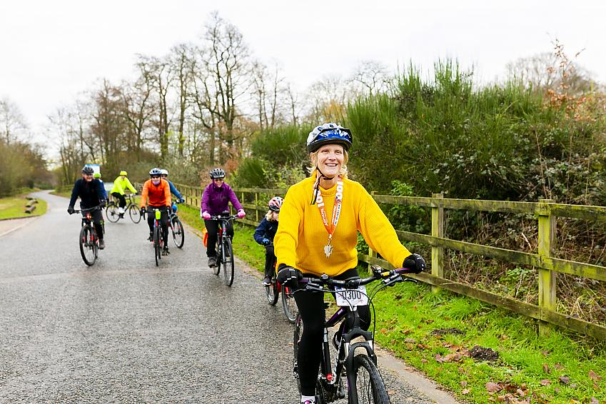 Linda cycling with members of Park Pedal