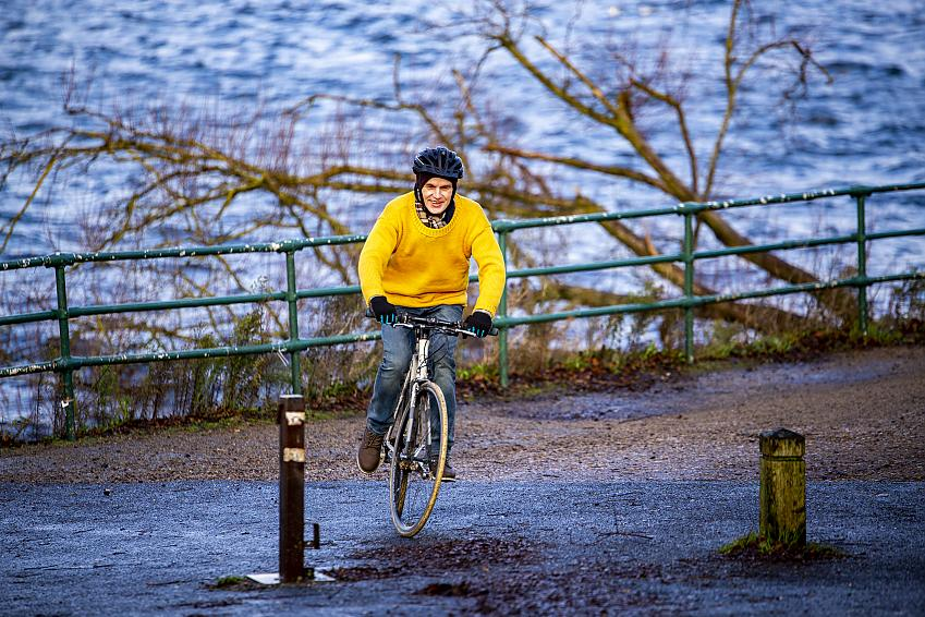 Martin Williams enjoying a cycle ride in his Real Yellow Jersey