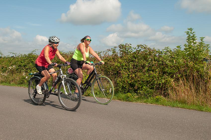 Anna Russell (right) taking part in the New Forest Cycling Week. Photo by volunteer photographer Peter Cornish