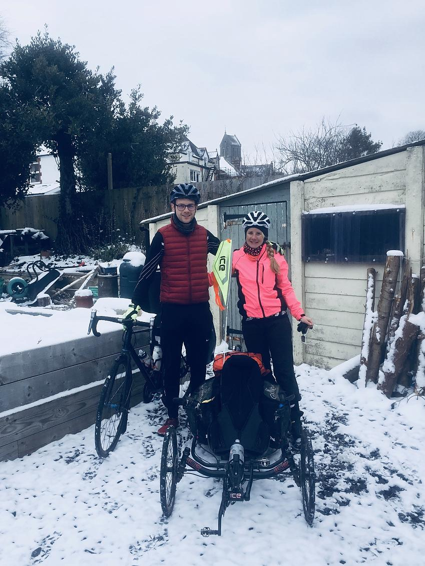 Natalie sets off during the Beast from the East