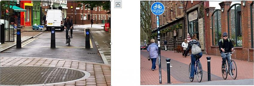Strategically-placed bollards in a residential and town-centre setting