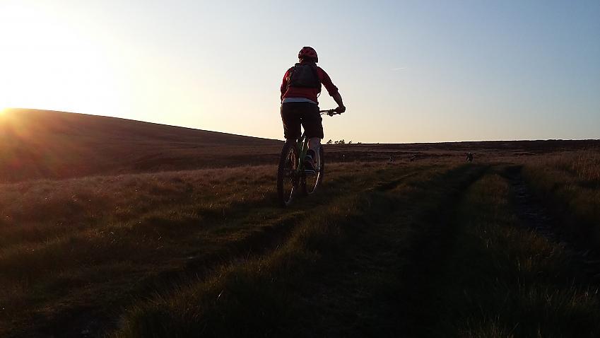 Mountain biker in sunset