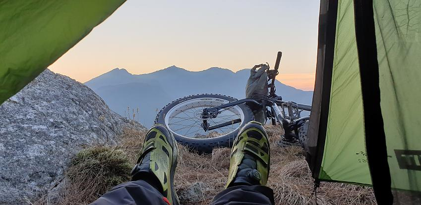 Feet popped out of bivi in Snowdonia.