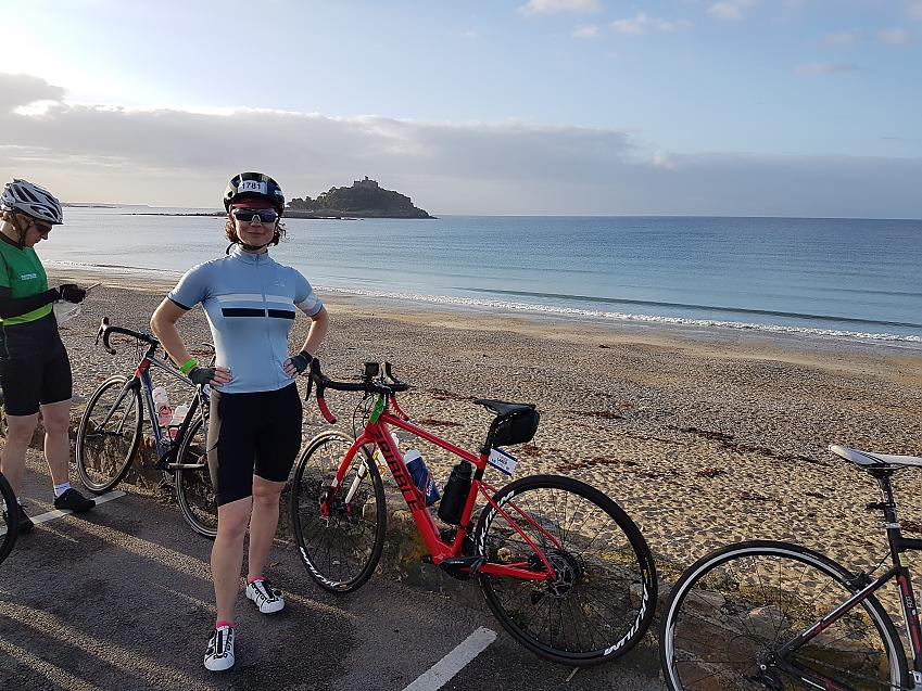 Laura Laker in front of St Michael's Mount