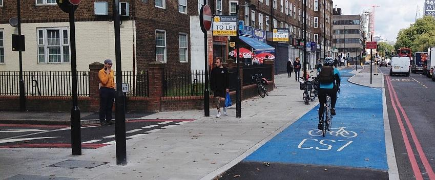 Cycle track given priority by design over a side-road, Kennington, London