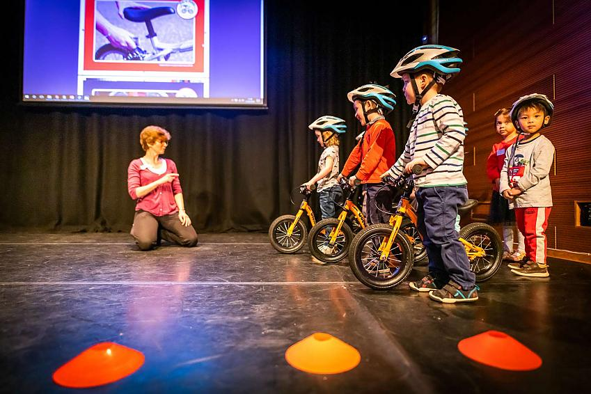 Children from Arcadia Nursery demonstrate their cycling skills