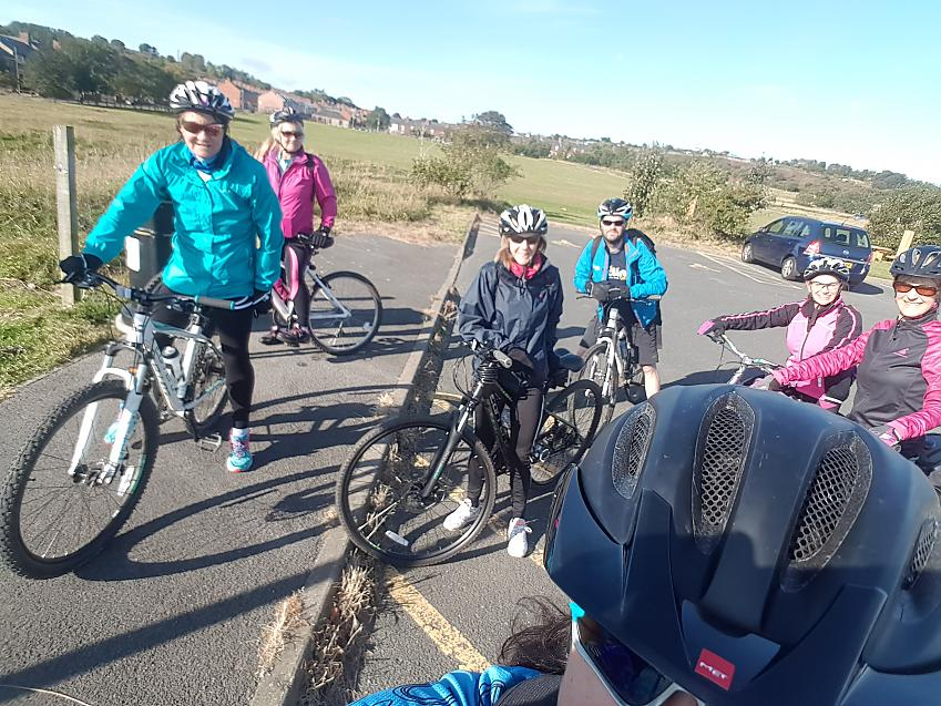 Alison cycling with her new friends
