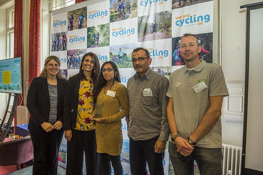 Members of Balsall Heath receive the 'Best Cycling Group' award