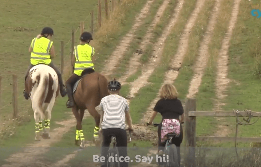 Be nice, say hi; horse riders and cyclists