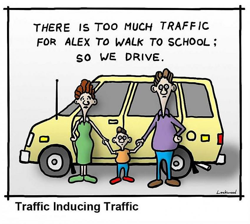 Cartoon from the British Journal of Medicine about why parents drive their children to school