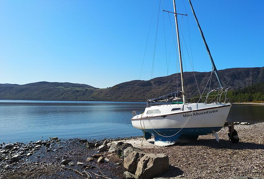 A boat on the shore of Loch Ness