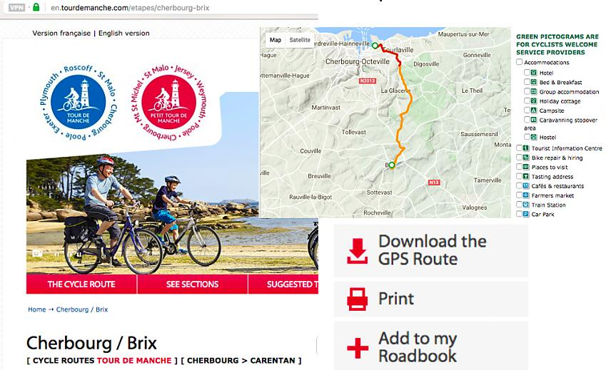 On the website for Tour de Manche click on the 'Download the GPS Route' icon and your planning is complete.