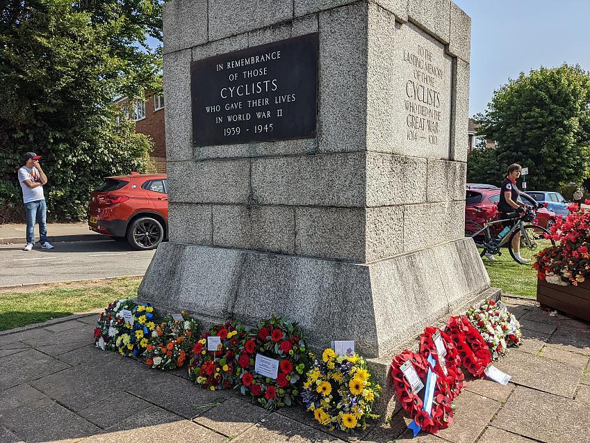 Wreaths laid around the Cyclist War Memorial on Meriden Green
