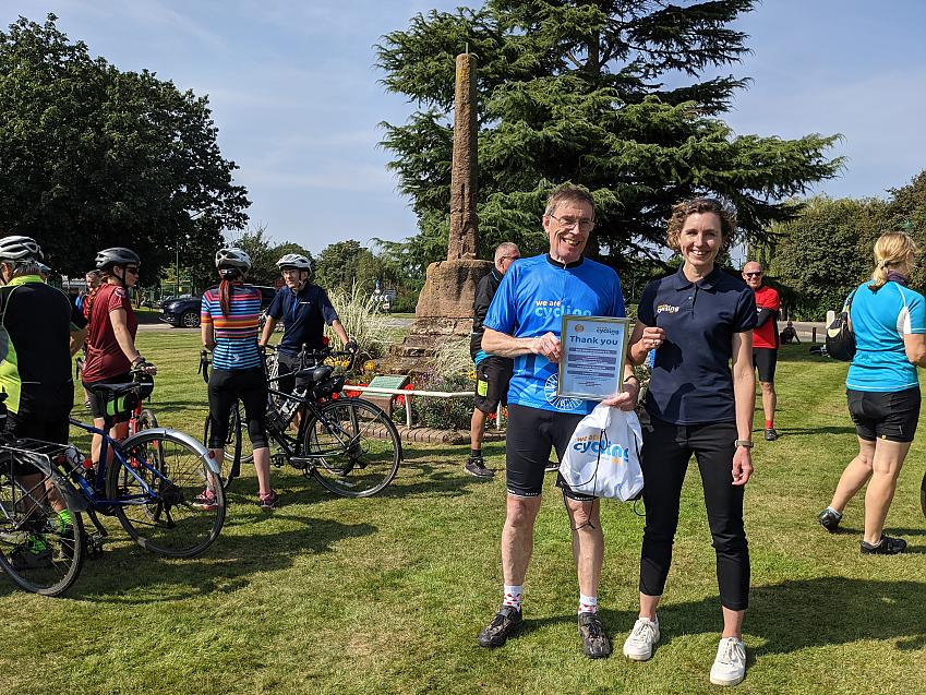 Cycling UK chief executive, Sarah Mitchell with Meriden Memorial Service organiser Dave Hearn