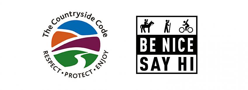 Countryside Code logo and Be Nice Say Hi logo