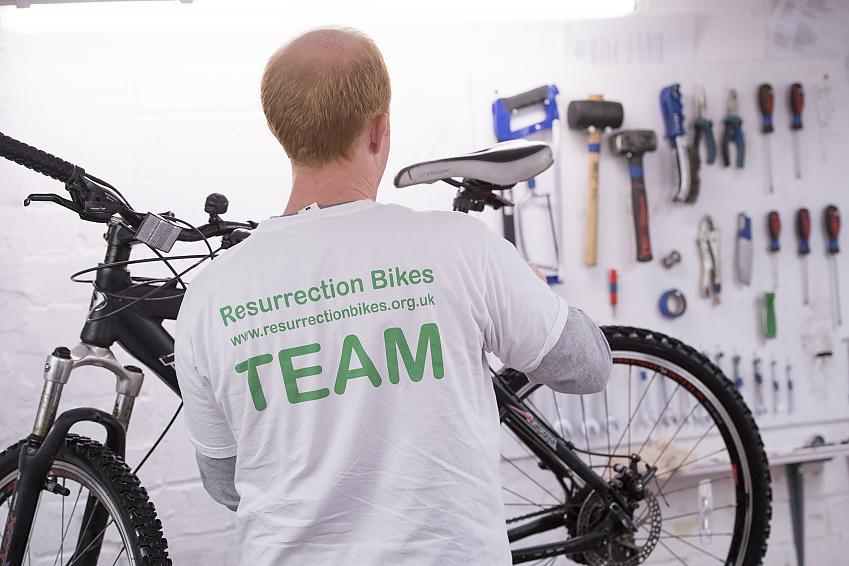 Resurrection Bikes volunteer