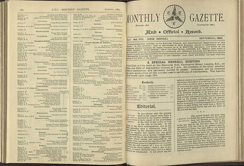 CTC Gazette, 1889 Showing Joseph Koechlin. Photo with permission from the Modern Records Office, University of Warwick.