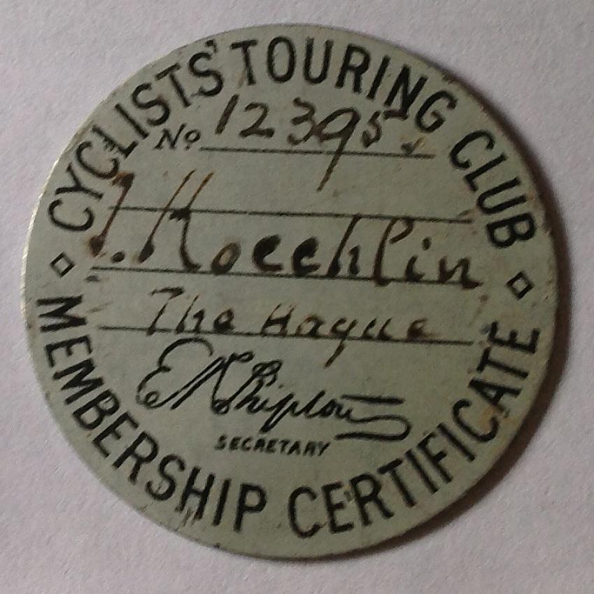 Joseph Koechlin's CTC Badge, 1889. Photo by Rosalinde Ross.