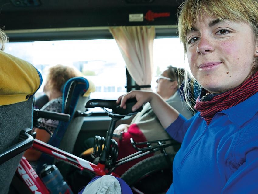 Cyclist with bike in Icelandic bus