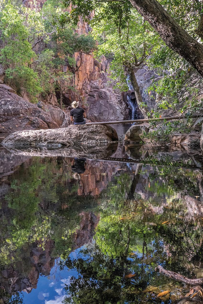 Sketching at the rock hole in Kakadu National Park