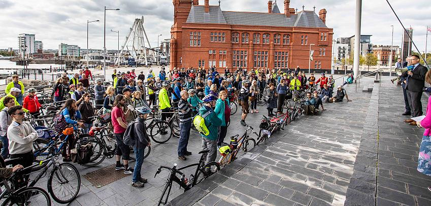 Group of people at a cycle campaign event