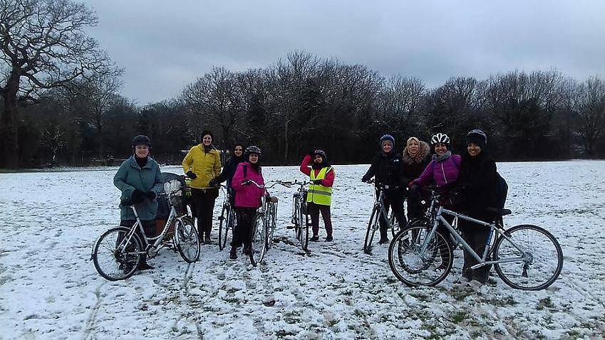 Cycle Sisters in the snow.  Photo by Cycle Sisters